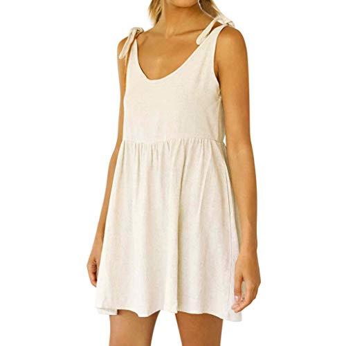 CAOQAO Elegant Damen Ballkleid Hochzeitskleid Festlich Dressurgerte Sommer Sexy Baumwolle Leinen Lace Up Sleeveless Feste BeiläUfige Kurze Minikleid
