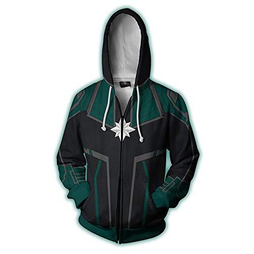 Marvel Überraschung Captain Hoodie Unisex Cosplay 3D-Druck Kapuzenpulli Herbst Winter Langarm Mantel Jacke Green-L - Captain Green T-shirt