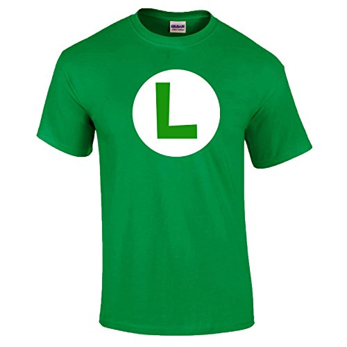 Indy Visuals Mario Bros Logo T-Shirt Luigi Wario Waluigi Peach Retro Gaming Unisex T-Shirt - Green - Luigi - S - Retro-gaming-pullover