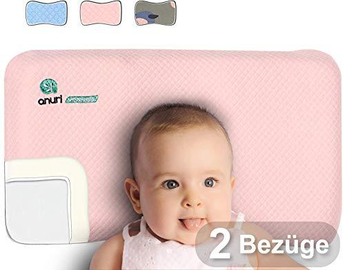 ANURI | Baby-Kissen gegen Plattkopf und Kopfverformung I 2-SCHICHTEN Protect System | Baby-Kopfkissen aus Anti-Allergen Memory Schaum | 0-24 Monate | 2 Kopfkissenbezüge | Wolkenrosa