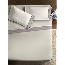 Ipersan Naturale, Completo letto matrimoniale, 100% cotone, beige, bordo spigato