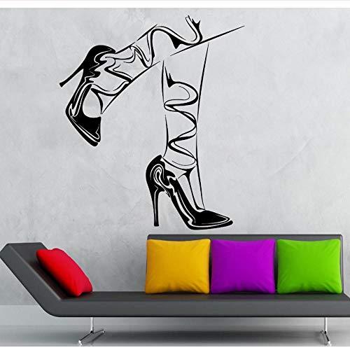 ljjljj Decalcomanie in vinile rimovibili per donna, piedi, scarpe con tacco alto, adesivo da parete 22x35cm