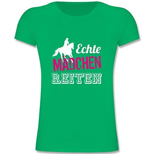 Sport Kind - Echte Mädchen reiten - 140 (9-11 Jahre) - Grün - F131K - Mädchen Kinder T-Shirt