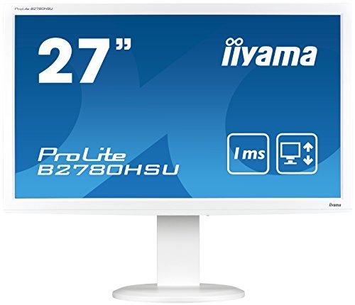 Iiyama ProLite B2780HSU-W1 27-Inch LED Monitor - White (1920 x 1080, 300 cd/m2, 1000:1, 2 ms, HDMI, DVI-D, VGA)