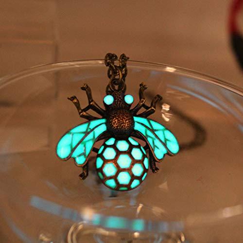 YANOAID Glühende Honigbienenhalskettenhalskette Punkhalskette Die Bienenanhänger Halsketten Glühen Im Dunklen Apidaeamulettgeschenk