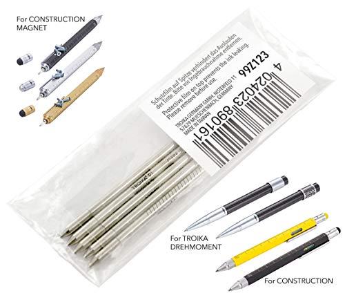 TROIKA Kugelschreibermine - 99Z123 - 5er Pack - Ersatzmine D1 - blau - bedruckt - Strichstärke M - Schreiblänge 1.600 - 1.800 m - für TROIKA CONSTRUCTION Multitasking-Kugelschreiber - TROIKA-Original