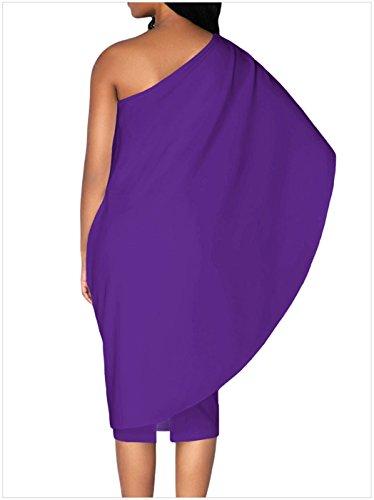 Moda Cloak Poncho Cape a mantella Stilee Batwing Sleeve Monospalla asimmetrico Midi Longuette Bodycon Aderente Fasciante Dress Vestito Abito Viola