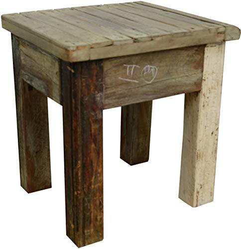 Guru-Shop Table D'appoint, Table de Téléphone, Chaux, Teck, 47x43x40 cm, Tables Basses