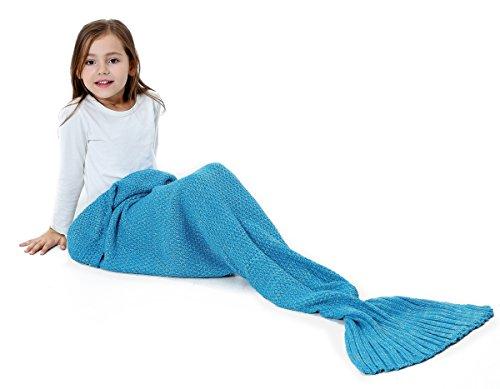 S-D kuschelige Decke im Meerjungfrauen Stil. Handgefertigte Decke in Schlafsack Ausführung aus angenehmem Woll-Strick mit süßer Flosse am Ende. Ideal für Damen und Kinder (140 cm x 70 cm, Blau)