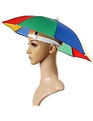 homiki 1PC Chapeau de Parapluie Costume d'arc-en-Ciel Casquette Parasol Anti-UV Multicolore pour Les Activités en Plein Air Pêche Randonnée Golf Plage