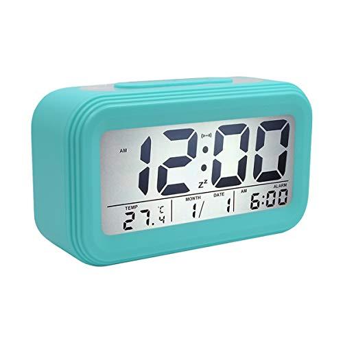 COOJA Reloj Despertador Digital Pilas, Reloj Alarma Despertador Infantil con Luz Snooze Numeros Grandes Temperatura, Despertador Electronico de Viaje Reloj Digital Casa Mesilla Alarm Clock -Azul