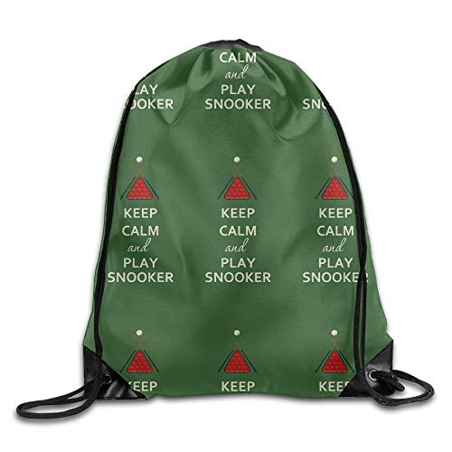 YOWAKi Fashion New Keep Calm Play Snooker Unisex Outdoor Rucksack Shoulder Bag Sport Drawstring Backpack Bag