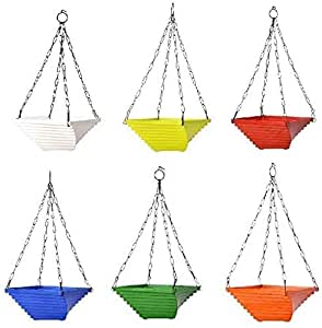 """Truphe Gardening Hanging Pots, Multi Color Flower Pots Size: 9"""" Inch - Twister (Pack Of 6) Made In India"""