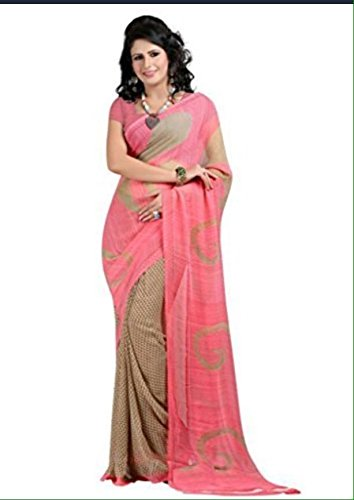 Vedant Georgette Saree (Red Chiku Saree_Pink)