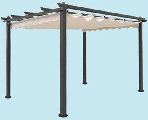 Gazebo giardino alluminio pergola cm 300x400 telo superiore scorrevole