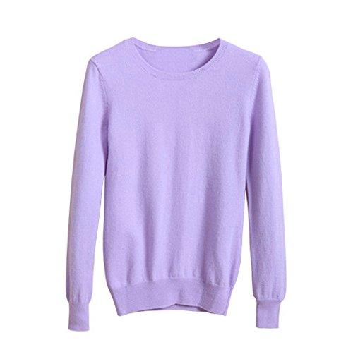 VOBAGA Womens Casual Elegante o collo manica lunga di colore solido del pullover camicetta Tops Maglione