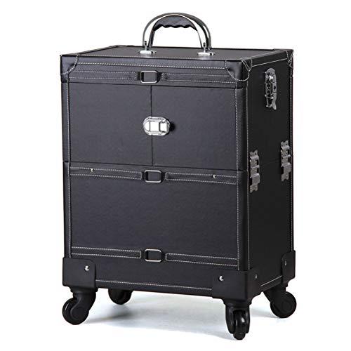 Trolley de Malette maquillage Beauty cased'alliage d'aluminium avec la boîte de stockage d'ongle de tatouage de couche de beauté de caisse de vanité de beauté de roue