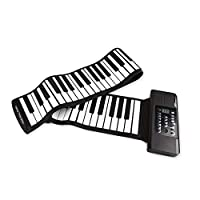 AKDSteel 61 Keys 88 Keys Roll Up Piano Flexible Soft Electronic Digital Piano Roll Up Keyboard Piano Portable Piano for Beginner 88 Keys Black
