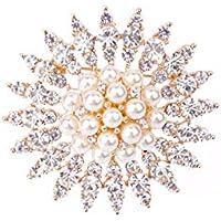 KUNQ Süße Brosche/Luxuriöse Zirkon - Brosche Pearl Luft Pins Kristall - Brokkoli Pulli Jacke Westlichen Stil Zubehör.