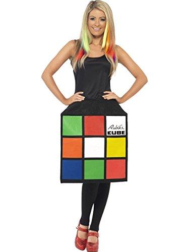 Smiffys Damen Kostüm Rubik's Zauberwürfel Kleid Karneval Fasching Größe ()