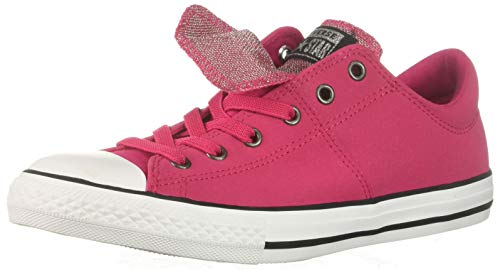 Converse Girls' Chuck Taylor All Star Maddie Glitter Leather Low Top Sneaker, Pink POP/Black/White, 5.5 M US Big Kid Chuck Taylor Kids Top