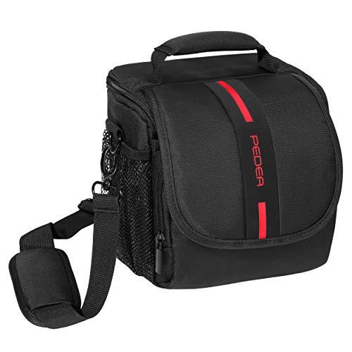 """PEDEA DSLR-Kameratasche \""""Essex\"""" Fototasche für Spiegelreflexkameras mit wasserdichtem Regenschutz, Tragegurt und Zubehörfächern, Gr. M schwarz/rot"""