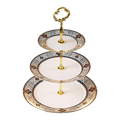 SHIJIAN 3 Tier Serviertablett Stand/Cupcake Kuchen Dessert Gebäck Stand/weiße Keramik Runde Platte für Tee Party Hochzeit Baby Shower Buffet Server (Farbe : Style C) -