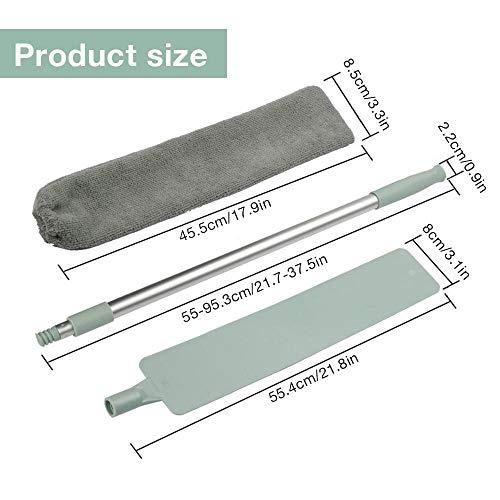 Cepillo limpiador de polvo de mango largo Siqdak,  cepillo telescópico para eliminar el polvo,  plumero de microfibra para el hogar,  retráctil a 43.5 -  59.3 pulgadas con cabeza flexible
