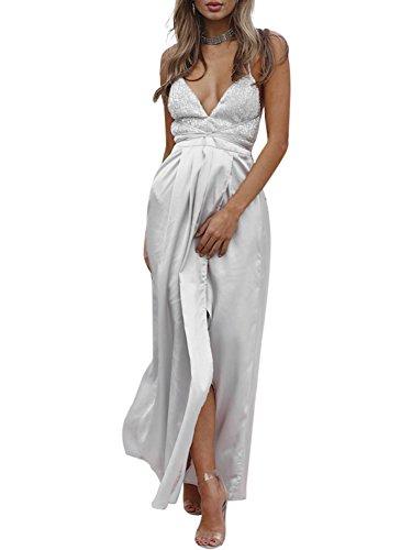 Missy Chilli Damen Lang Kleid Sexy V-Ausschnitt Rückenfrei Pailletten Satin Maxi Kleid Partykleid Abendkleid mit Schlitz Silber (Kleid Elegantes Satin)
