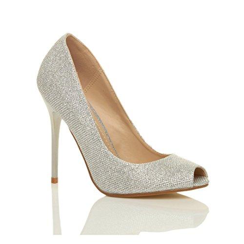 Donna tacco alto festa punta aperta peep toe décolleté scarpe sandali taglia Argento scintillio
