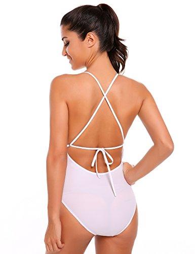 Ekouaer Damen Push-up Gepolstert Neckholder Bikini-Sets BH Bandage Design Bademode Beachwear Badeanzug Weiß280