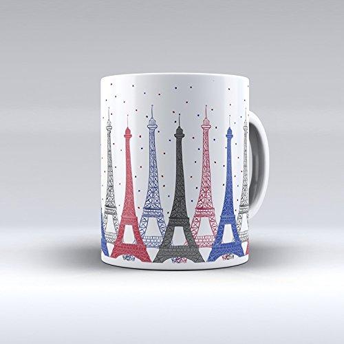 Taza decorada desayuno regalo original diseño París con Torre Eiffel