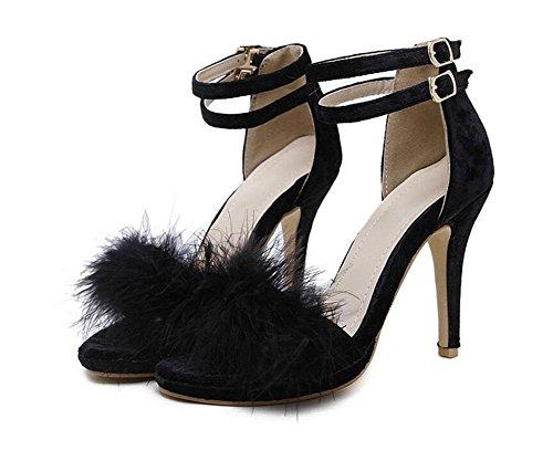 GLTER Pompes à sangle de cheville pour femme Sandales à talons hauts en peluche Chaussures à talon ouvert à cône noir Gris rose Black