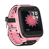 Festnight Kids Intelligent Watch with SIM Card Slot 1.44 inch IPX7 Waterproof Touching Screen Children Smartwatch SOS Call Voice Chat Alarm Clock Compatible for Android and iOS Phone