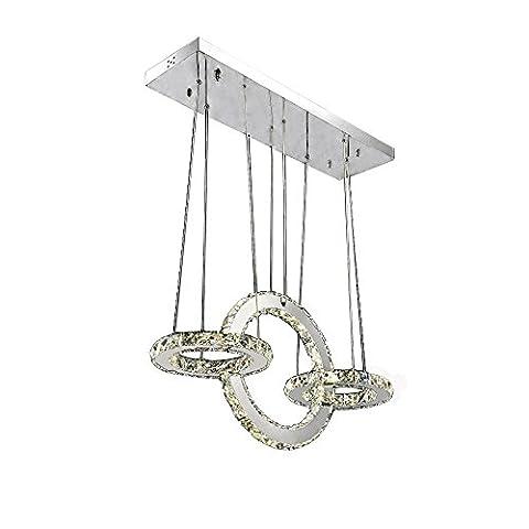 Moderne Pendelleuchten Kristall Pendelleuchte Edelstahl Ringe Schirm LED Deckenbeleuchtung, Chrom Finish