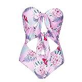 DaySing 2019 Sommer Einteiler-Badeanzug Heißer Frühling Bikini-Anzug Badeanzug für Damen und Mädchen Gepunkteter Blumendruckgurt Ärmellos gewickelte Brust Bikinihosen Bikinioberteile