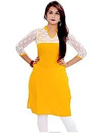 Muta Fashions Women's Brasso Net Dress Material(KURTI215_02_Yellow_Free Size)