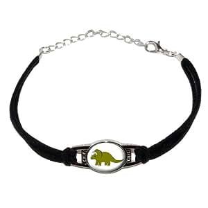Dinosaur - Triceratops - Green - Novelty Suede Leather Metal Bracelet - Black