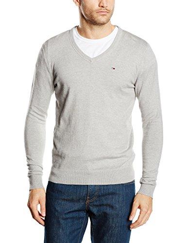Hilfiger Denim Herren Pullover Original Cotton Blend VN Sweater LS Grau (LT GREY HTR 038)
