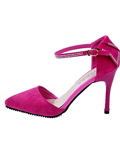 GS~LY Damen-High Heels-Lässig-Vlies-Blockabsatz-Absätze-Schwarz / Blau / Rot / Beige red-us5.5 / eu36 / uk3.5 / cn35