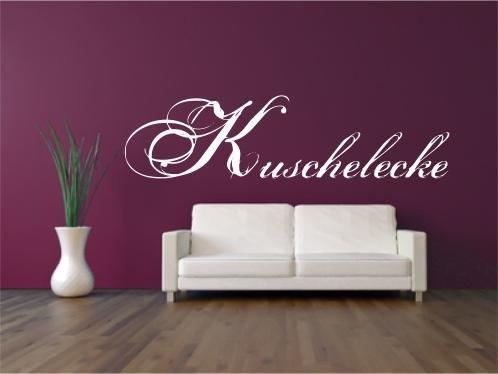 "Wandtattoo ""Kuschelecke"" mit Schnörkelschrift Wandaufkleber, Wandbild freie Farbwahl Größe: 80x20cm"