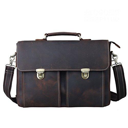 Ybriefbag Schultertasche Büro drücken Schnalle Handtasche Vintage Style Leder Business Aktentasche 13