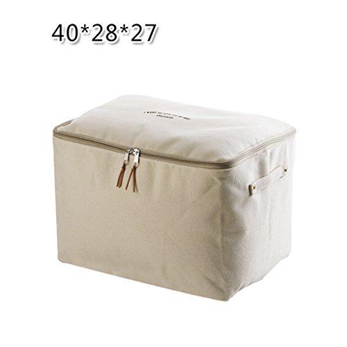 Scatola di immagazzinaggio pieghevole in tela con sacchetto di immagazzinaggio in tessuto con cerniera lampo, biancheria da letto, cesto portaoggetti di grande capienza finitura tessuto, due misure,m