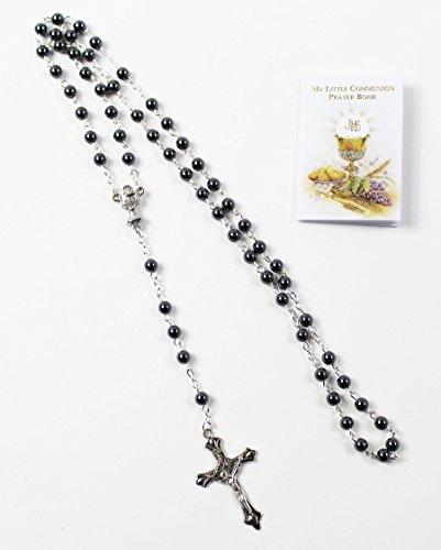 nk Set schwarz Rosenkranz Perlen und Gebet Buch Andenken Unisex (Die Erste Kommunion Kreuz)