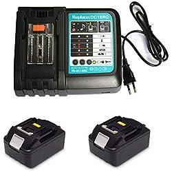 Chargeur rapide de rechange 3 A avec 2 batteries 18 V 5 Ah pour radio de chantier Makita DMR100 DMR108 DMR107 DMR106 DMR106B DMR102 DMR104 DMR110 DMR101 DMR103B BMR102 BMR100 BMR104 18 V