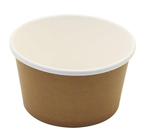 25Count Einweg Hot und kalten Speisen Aufbewahrung Papier Container, strapazierfähig Eis Creme Tassen für gefrorenen Desserts, heiße Suppen, oder, Lebensmittel Sie wollen, Papier, braun, 12 ounce Dessert-container