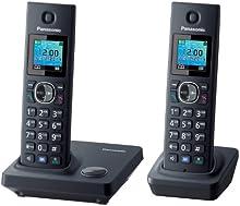 Panasonic KX-TG7852SPB - Teléfono inalámbrico con dos terminales (pantalla LCD color, 1,45