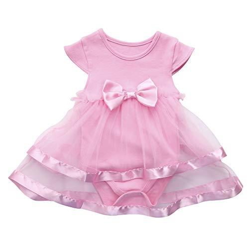 Baby Mädchen Ärmellose Kleider, Infant Geburtstag Tutu Bogen Kleidung Party Overall Prinzessin Strampler Kleid Karneval Ostern Outdoor-Kleidung(Rosa,9M)