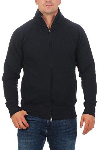 Herren Sweatjacke ohne Kapuze Zip-Jacke mit Kragen, Größe:3XL, Farbe:Dunkelblau -