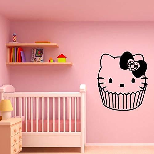 Cartoon Kätzchen Tasse Kuchen Wandaufkleber für Kinderzimmer Mädchen Wandtattoos Schlafzimmer Süße Wohnkultur Poster Murals57X66 cm